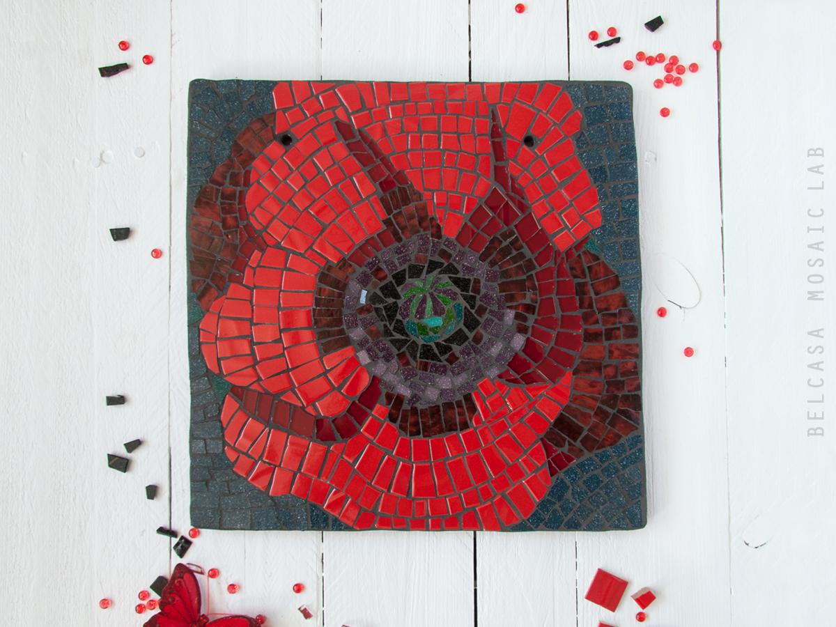 Ilonaracina Portfolio Poppy Flower Mixed Mosaic Tile